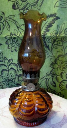 Vintage Miniature Amber Oil Lamp Chimney & Base  Brass Hardware. $12.