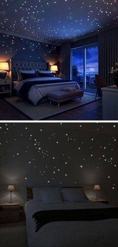 Glow In The Dark Stars Wall Stickers Easy Wall Art Ideas for Living Room Inexpensive Wall Decorating Ideas for Bedroom Funky Bedroom, Bedroom Wall, Bedroom Decor, Bedroom Lamps, Room Ideias, Interior Design Living Room, Living Room Decor, Simple Wall Art, Easy Wall Decor