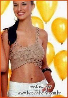 Katia Ribeiro Moda & Decoração Handmade: Top em crochê - Cropped top com gráfico e receita