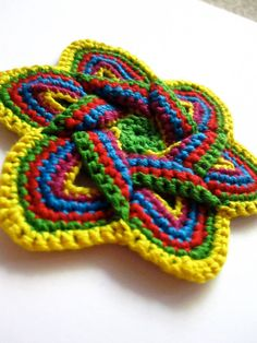 Crochet Flower Applique in Yellow, Green, Red, Teal, and Fuschia