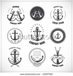 Set of vintage anchors with ropes