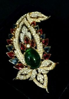 Spectacular Vintage Crown Trifari Philippe Jewels Of India Large Cabochon Brooch #Trifari