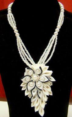 Flower Handmade Beadwork necklace kanzashi by akimova7771 on Etsy, $40.00
