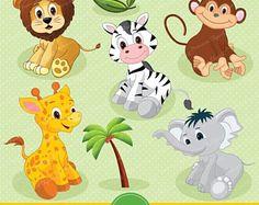 Safari bambino animali Clipart / Clipart animali giungla / Zoo
