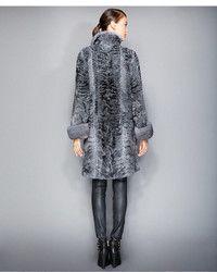 40519076c9e Charcoal Fur Coat  The Fur Vault Mink Fur Trimmed Persian Lamb Coat