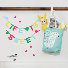 Happy days! Colourful little treasures to brighten up the day. .. #DIY #Banner #Bright #Yellow #Lapin&Me #Freya #Tote #Shopper #FermLiving #Blanket and #Wallstickers #FineLittleDay #Cushion All online @ThisModernLife