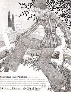August 1973. Brilliant fashion illustration from Pandora clothing. Those are some seriously flared trousers!