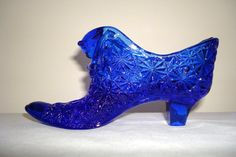 Vintage Fenton Cobalt Blue Glass Slipper / Daisy by Kisses4Lucy, $12.00