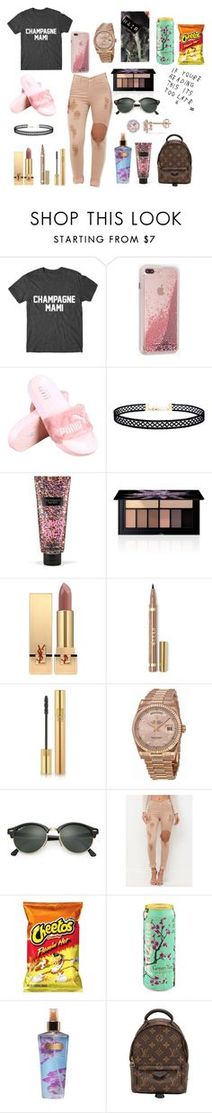 """Champagne Mami✨"" by amari-nyelle ❤ liked on Polyvore featuring Case-Mate, LULUS, Victoria's Secret, Smashbox, Yves Saint Laurent, Rolex, Ray-Ban, Louis Vuitton and Allurez"