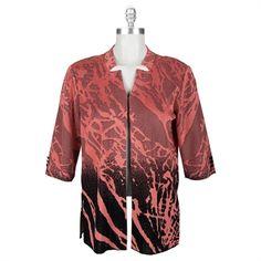 Ming Wang Plus Size Long Jacket with Inverted Lapels #VonMaur #MingWang #Nectarine