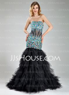 Prom Dresses - $230.49 - Mermaid Sweetheart Court Train Tulle Prom Dress With Beading (018018829) http://jjshouse.com/Mermaid-Sweetheart-Court-Train-Tulle-Prom-Dress-With-Beading-018018829-g18829