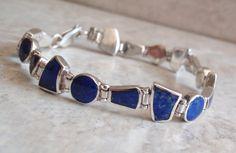 Lapis Sterling Bracelet 7.5 Inch Multi Shape by cutterstone