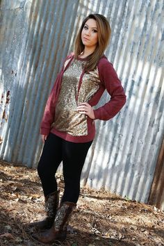 Sequin Hoodie Sweater Wear Us Out Boutique Conroe/Montgomery Texas