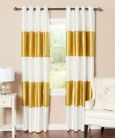 Gold Stripe Dupioni Blackout Curtain Panel