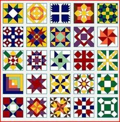 barn quilt blocks ~what ARE barn quilts? Quilt Square Patterns, Barn Quilt Patterns, Pattern Blocks, Square Quilt, Barn Quilt Designs, Quilting Designs, Painted Barn Quilts, Painted Stairs, Barn Signs