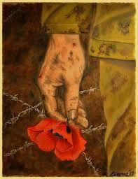 """Oil on Canvas Armistice Day """"The sun now it shines on the green fields of France There's a warm summer breeze, it makes the red poppies dance. Remembrance Day Drawings, Remembrance Day Posters, Remembrance Sunday, History Projects, Art Projects, Poppy Images, Ww1 Art, Stippling Art, Armistice Day"""