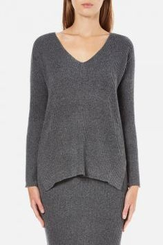Paisie Women's V Neck Ribbed Jumper - Marl Grey - S/UK 8