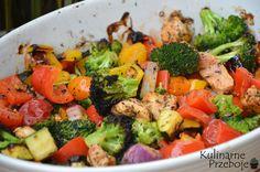 pieczone piersi kurczaka z warzywami Broccoli, Food And Drink, Gluten Free, Chinese, Favorite Recipes, Lunch, Chicken, Vegetables, Healthy