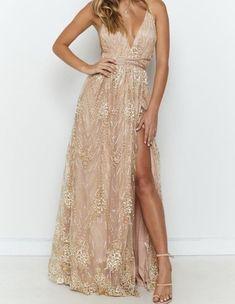 Gold Formal Dress, Gold Prom Dresses, Grad Dresses, Wedding Dresses, Rose Gold Long Dress, Gold Dress Bridesmaid, Bohemian Formal Dress, Bridesmaids, Rose Gold Sequin Dress
