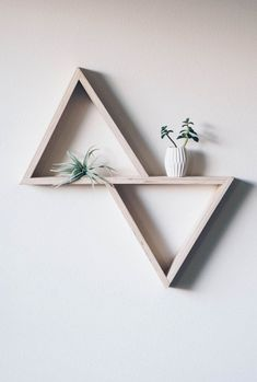 Custom crafted double triangle shelf made from beautiful and strudy inch birch plywood. Diy Wood Wall, Diy Wall Decor, Home Decor, Wooden Wall Shelves, Wall Decorations, Floating Shelves, Wall Ornaments, Diy Home Crafts, Hanging Plants