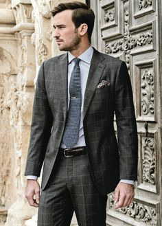 SUIT Charcoal Windowpane   SHIRT Blue Thin Stripe   NECKWEAR Navy Geo Floral   TIE BAR Sterling Silver   POCKET SQUARE Navy Silk Pine Motif   BELT Chestnut Leather Featheredge