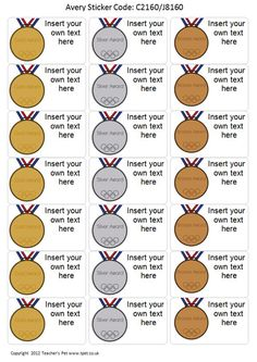 Teacher's Pet - Editable Olympic Themed Stickers - FREE Classroom Display…