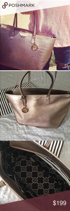 Rose Gold Tote! Rare rose gold tote by Henri !!!! Beautiful sparkly color that shines in the sun! Rare color. Hard to find. Used two times very clean very excellent condition has been sitting in my closet in the bag on a shelf!! Love but never use </3 henri bendel Bags