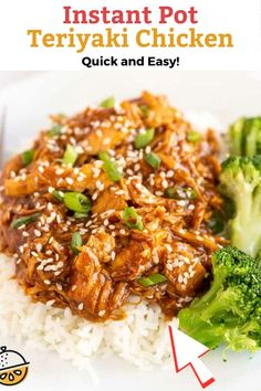 This Instant Pot Teriyaki Chicken cooks in a savory sweet teriyaki sauce in the pressure cooker until perfectly tender and mouth-watering delicious. I like serving shredded chicken teriyaki over rice for a quick and easy weeknight meal. #instantpot #Asian #lemonblossoms #pressurecooking #dinner #teriyaki #frozen
