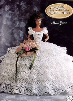 Miss June 1991 Antebellum Collection Barbie Outfit Crochet Pattern Leaflet. This pattern leaflet contains instructions for making the outfit shown which is sized to fit an fashion doll like Barbie. Crochet Doll Dress, Crochet Barbie Clothes, Doll Clothes Barbie, Crochet Doll Pattern, Barbie Doll, Crochet Patterns, Knit Dress, Barbie Wedding Dress, Barbie Gowns