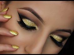 Gold Glitter Cut Crease Smokey Eye - Makeup Tutorial - YouTube