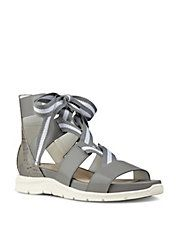 Striped Lace-Up Athletic Sandals