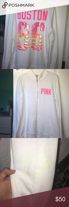 BOSTON PINK half zip Limited edition sold for 1 week only! Pink orange, yellow and white sequin Boston half zip. Small stain on the arm PINK Victoria's Secret Sweaters Crew & Scoop Necks