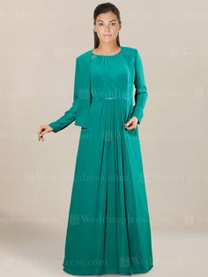 Modern dress for mother of the bride is a long gown with lace straps. Beaded accents trim around the neckline and edge of straps. Sequined belt wraps around the natural waist. This look can take you from day to night! Matching chiffon jacket with long sleeves is optional. Available in 60 colors, show in Jade.