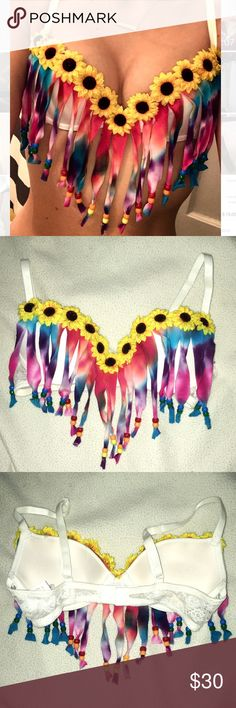 TIE DIE RAVE BRA  HANDMADE, LACE, TIE DIE RAVE, PUSH UP BRA WITH CUTE SUNFLOWERS!! Never used. Bust Size 32A. Intimates & Sleepwear Bras