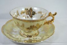 Vintage Tea Cup and Saucer Lusterware Set Pale Yellow and Gold Art Deco Style