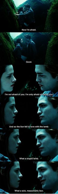 """So the lion fell in love with the lamb... what a stupid lamb... what a sick, masochistic lion."" #TwilightForever"
