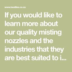If you would like to learn more about our quality misting nozzles and the industries that they are best suited to in South Africa, contact us today! Misting Nozzles, South Africa, Pump, This Is Us, Industrial, Learning, Studying, Pump Shoes, Industrial Music
