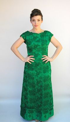 Vintage 1960s Dress - Chrysanthemum - Heavily Embroidered Kelly Green Silk Jackie O Gown. $170.00, via Etsy.