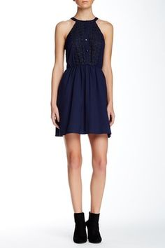 Lace Trim Halter Dress