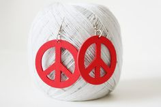 Red Peace Laser Cut  Wood Earring by muiwish on Etsy, $4.50
