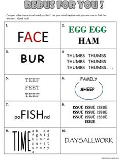Free, printable rebus worksheet from Puzzles to Print. Features 10 visual word puzzles to get adults and kids thinking outside of the box. Rebus Puzzles, Word Puzzles, Puzzles For Kids, Logic Puzzles, 2nd Grade Worksheets, Writing Worksheets, Worksheets For Kids, Therapy Worksheets, Word Games