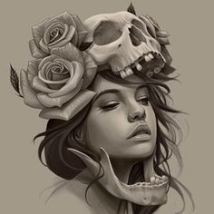 beautiful skull tattoos for women Skull Tattoos, Girl Tattoos, Sleeve Tattoos, Portrait Tattoos, Tatoos, Tattoo Sketches, Tattoo Drawings, Art Drawings, Tattoo Ink