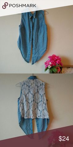 Lace Button Down Vest/Top I love the lace and details on this piece! covered stitch Tops Button Down Shirts