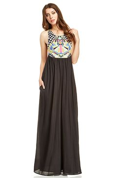 Mara Hoffman Geometric Embroidered Maxi Dress in Black XS - L | DAILYLOOK