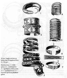 Ancient Latvian jewelry — ethnographic bracelets
