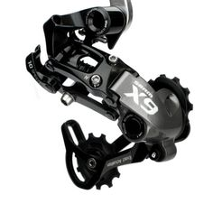 Sram X9 Type 2 Clutch Medium Cage Rear Derailleur. Works like a champ with a narrow-wide single chainring.