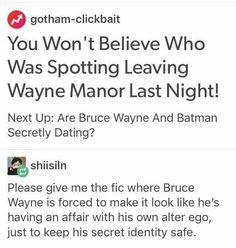 There actually is a fic like this, but it's Superbat (i am aware this isn't marvel) Nananana Batman, I Am Batman, Batman Art, Lego Batman, Dc Memes, Funny Memes, Batman Family, Detective Comics, Young Justice