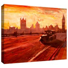 'London Bus Dusk' by Martina and Markus Bleichner Gallery Wrapped on Canvas