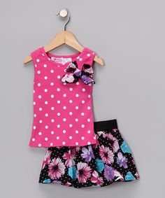 Take a look at this Pink Polka Dot Tank & Skirt - Infant, Toddler & Girls  by Young Hearts on #zulily today!