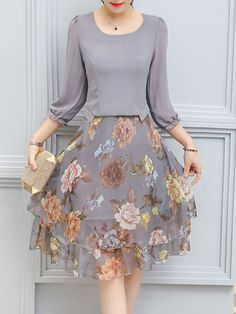 lady style floral printed date autumn spring flared, Women Floral Printed Chiffon Skater Dress Modest Fashion, Fashion Dresses, Fashion Top, Fashion Ideas, Womens Fashion, Feminine Fashion, Fashion Hats, Cheap Fashion, Fashion Clothes